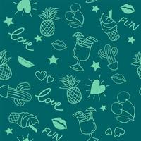 patrón de doodle sin fisuras con elementos de verano