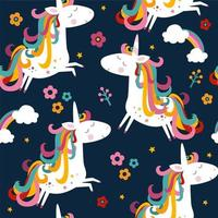 Seamless unicorn and flowers pattern