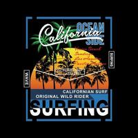 California surfing beach scene graphic for shirts vector