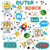 Cute space animal and text element set