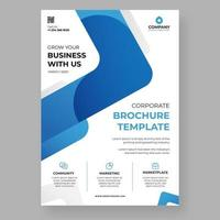 Flyer with blue rounded angle shape on white vector