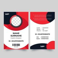 Vertical red and blue circle shape ID card