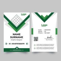 Vertical white ID card with pointed green details