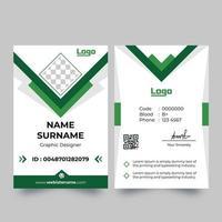 tarjeta de identificación blanca vertical con detalles verdes puntiagudos