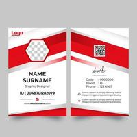 Vertical ID card with red angled corner accents
