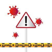 conception de quarantaine de coronavirus avec signe et bande de police