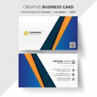 Blue and orange angle design business card
