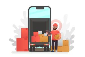 Online delivery service concept, online order tracking vector