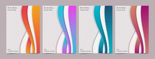Modern vertical layered wave style patterned covers vector