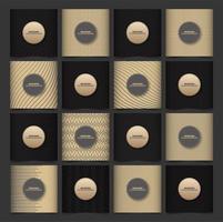 Premium-Cover in Gold und Schwarz mit Mustern vektor