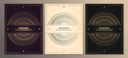Antique style cards with gold circle patterns vector