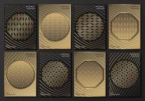 Gray and gold patterned posters with geometric frames vector