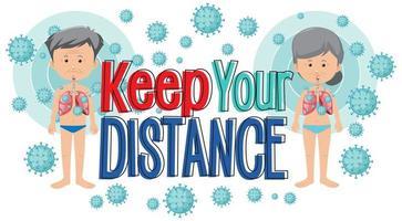 Coronavirus poster design with keep your distance wording  vector