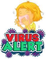 cartel de alerta de virus con niña enferma vector