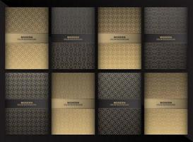 Collection of abstract black and gold color minimal covers