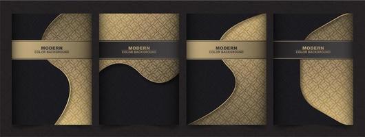 diseños de cubierta mínima de color negro y dorado