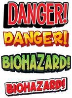 ensemble de signes de danger biologique et de danger vecteur