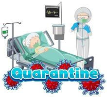 Quarantine poster design with sick woman and doctor at hospital