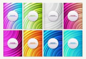 Set of striped abstract colorful patterns