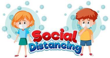 cartaz de distanciamento social do coronavírus com crianças usando máscara vetor