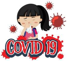 Font design covid-19 poster with sick girl vector