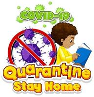 Covid-19 Quarantine poster with boy reading book vector