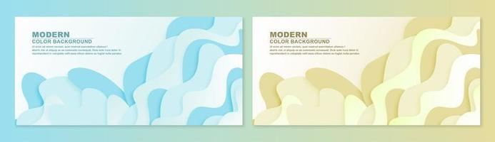 Abstract wavy paper 3d banner set