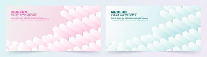 Set of abstract cube geometric pink and blue banners