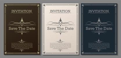 vintage de lujo guardar las plantillas de invitación de fecha