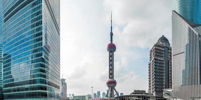 The Oriental Pearl Tower, landmark of Shanghai city (Panoramic) photo