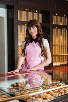 Waitress smiling