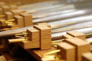 Wooden parts of a pipe organ photo