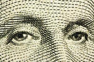 ojos del presidente de washington. macro foto