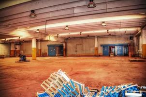 crate boxes in an empty warehouse photo