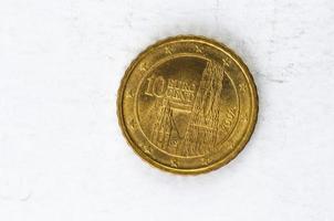 Moeda de 10 cêntimos de euro com parte traseira da Áustria
