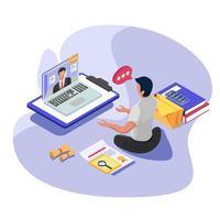 bedrijfsmedewerker die met werkgever in computer communiceert