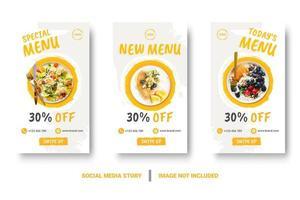 menu di cibo banner verticale storie di social media