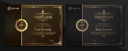 plantillas de certificado negro y dorado vector