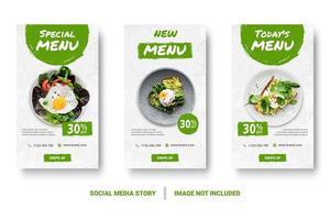 menu di cibo banner verde set di storie di social media