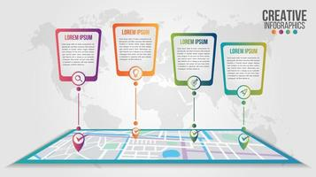 Infographic modern timeline over map design template
