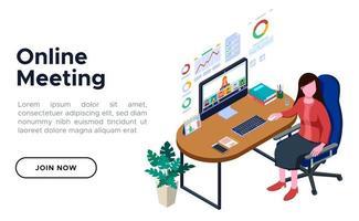 diseño de concepto de reunión en línea vector