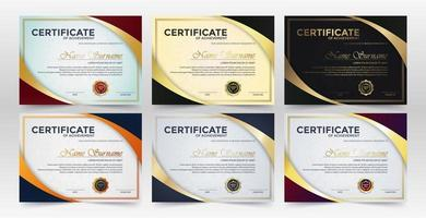 Achievement certificate best award diploma set vector