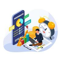 El éxito del hombre para gestionar su crecimiento financiero. Ilustración de gestión financiera isométrica. vector