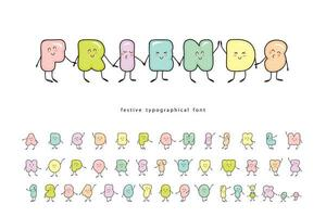 Cartoon emoticons font with funny friendly character vector
