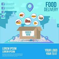 Meal delivery order on map tracking design  vector