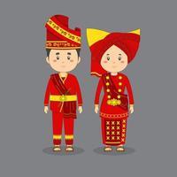 Carácter de pareja con vestimenta tradicional de sumatra oeste