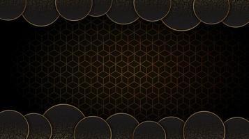 Fondo abstracto circular negro y oro