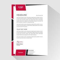 Red Black Side Frame Business Letterhead Template