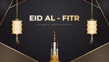 Ramadán Kareem con linterna y hermosa mezquita