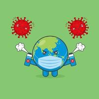 Cute Earth Characters Fight Against Viruses